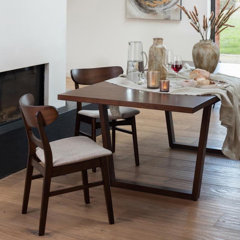 Chaise vintage design scandinave bois marron - Marta