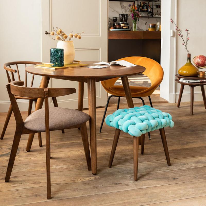 Table de salle à manger ronde vintage en bois foncé - Marta