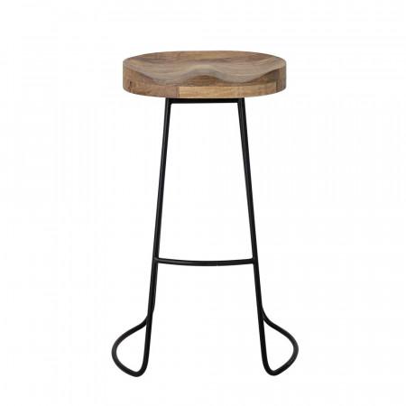 Tabouret de bar bois et métal design sans dossier Bloomingville - Vany