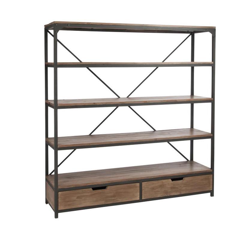 Bibliothèque bois métal style industriel 5 étagères et 2 tiroirs - Sofia