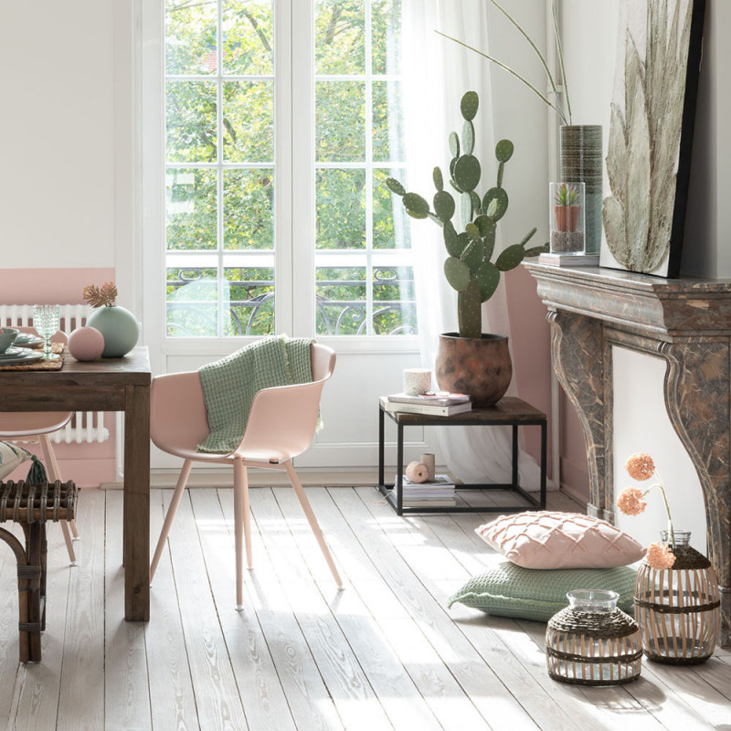 Bout de canapé bois et métal carré - Sofia