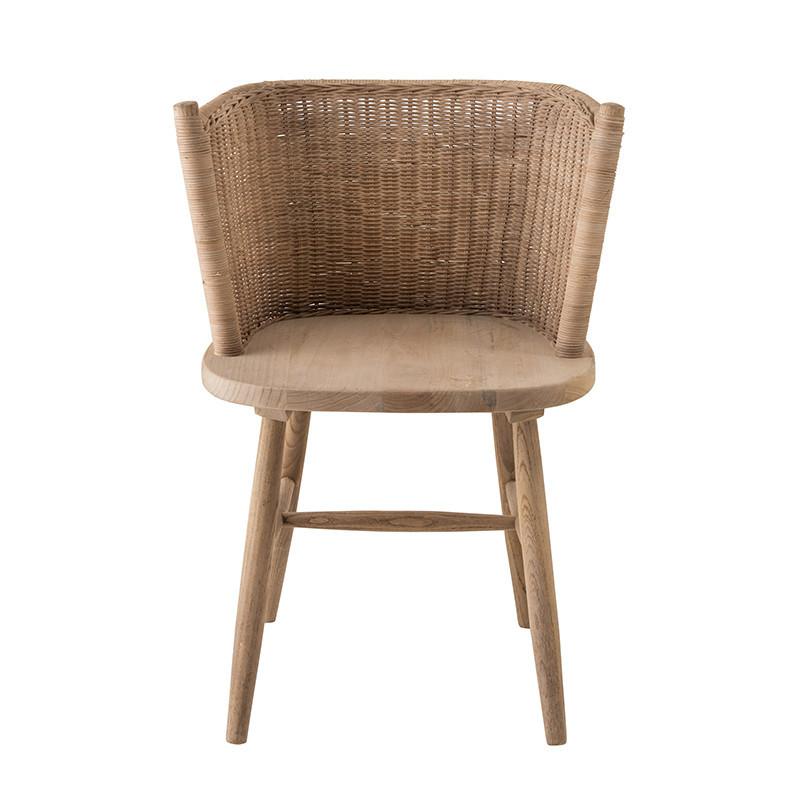 Chaise en bois et rotin design - Elvi