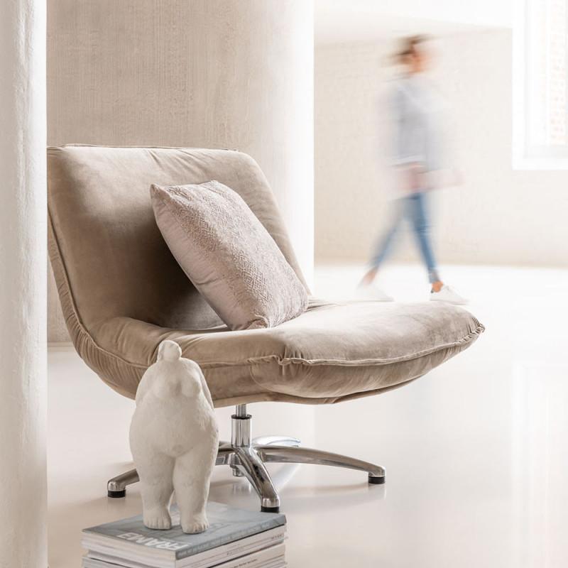 Fauteuil beige design pivotant - Dino