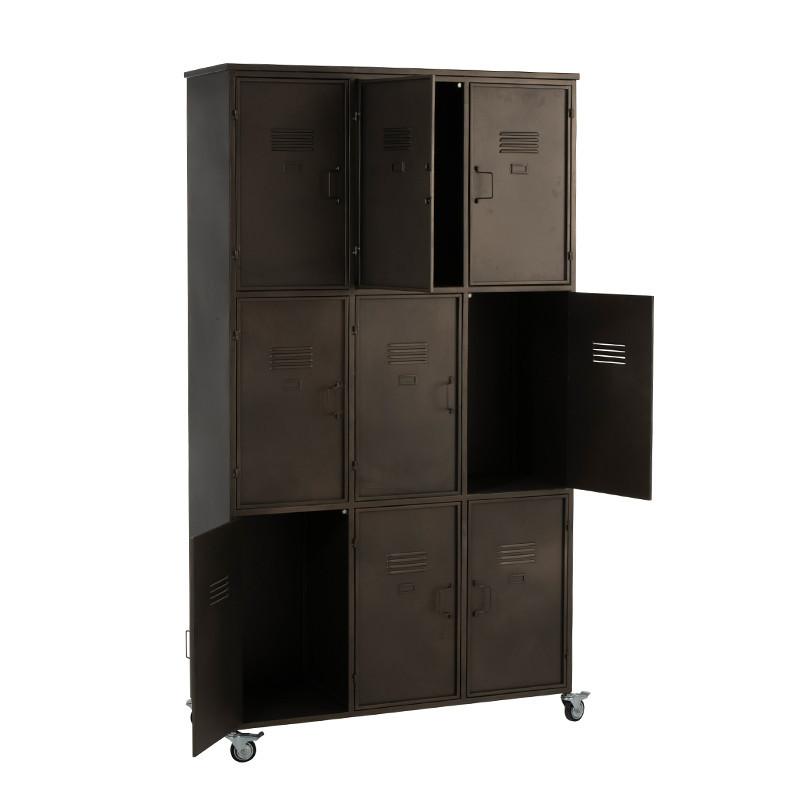 Meuble d'atelier en métal noir 9 casiers sur roulettes - Ria