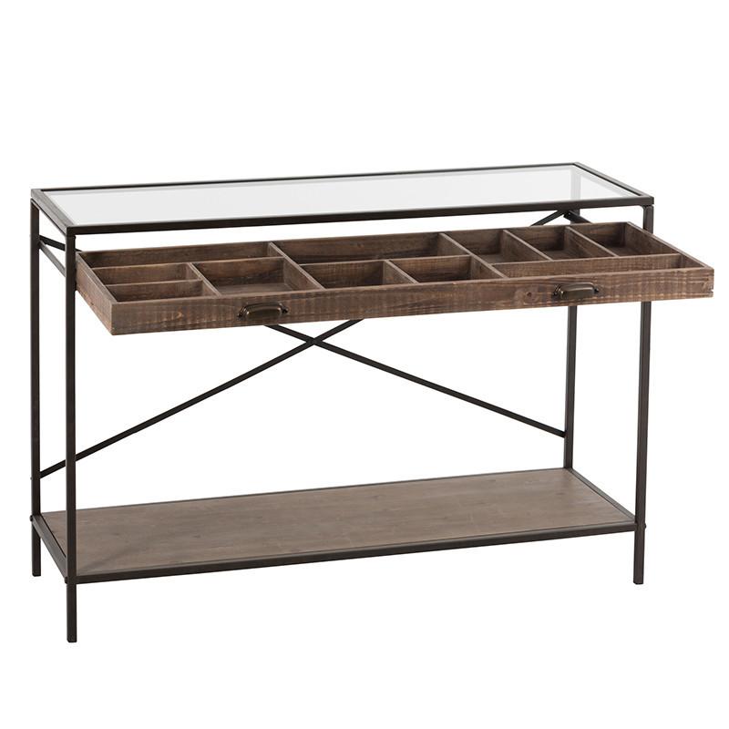 Meuble console avec tiroir en verre, bois et métal noir - Boli