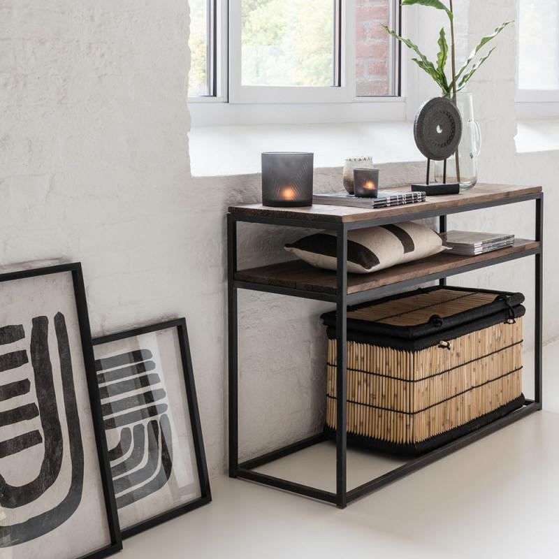 Console meuble bois métal avec 2 étagères - Sofia