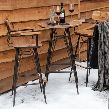 Table bar industriel en bois et métal noir - Bisto