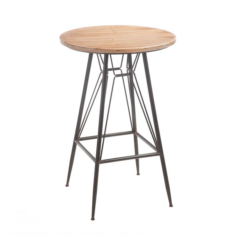 Table de bar industrielle en bois et métal noir - Bisto