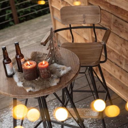 Table haute industrielle en bois et métal noir - Bisto