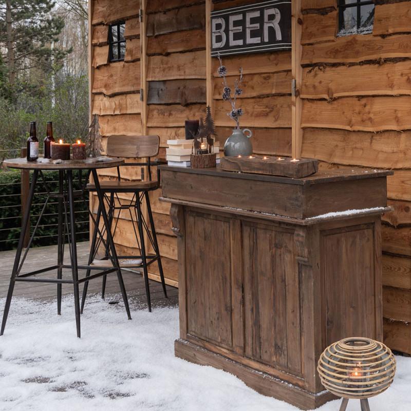 Table bar industriel bois et métal noir - Bisto