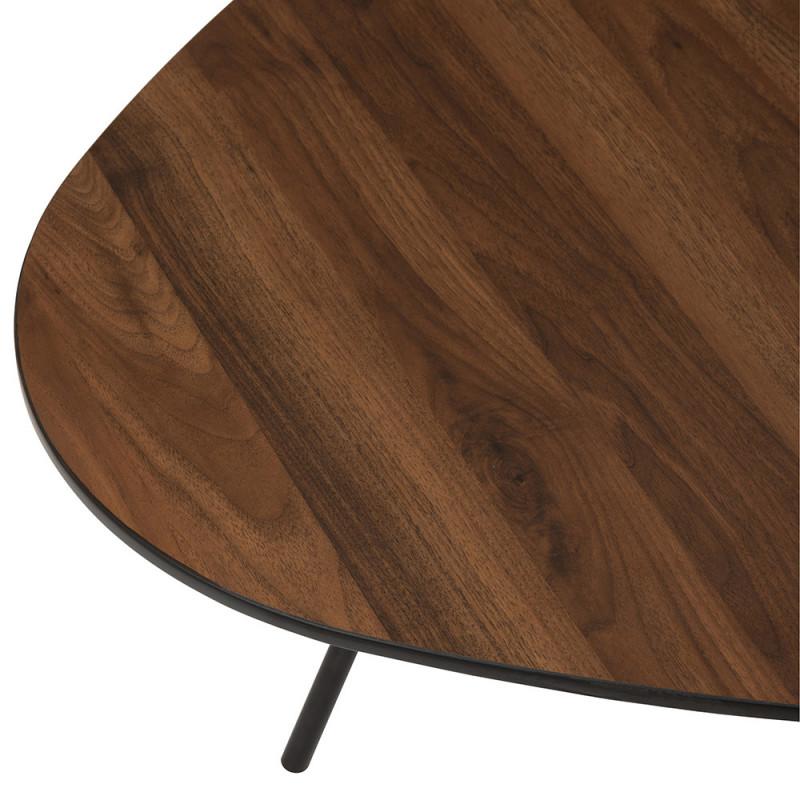 Table basse vintage en bois foncé galet - Annie