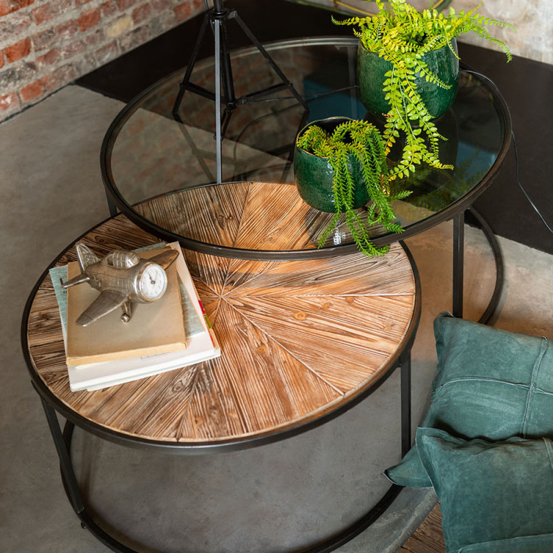 Table basse gigogne ronde en verre, bois et métal noir - Kimi