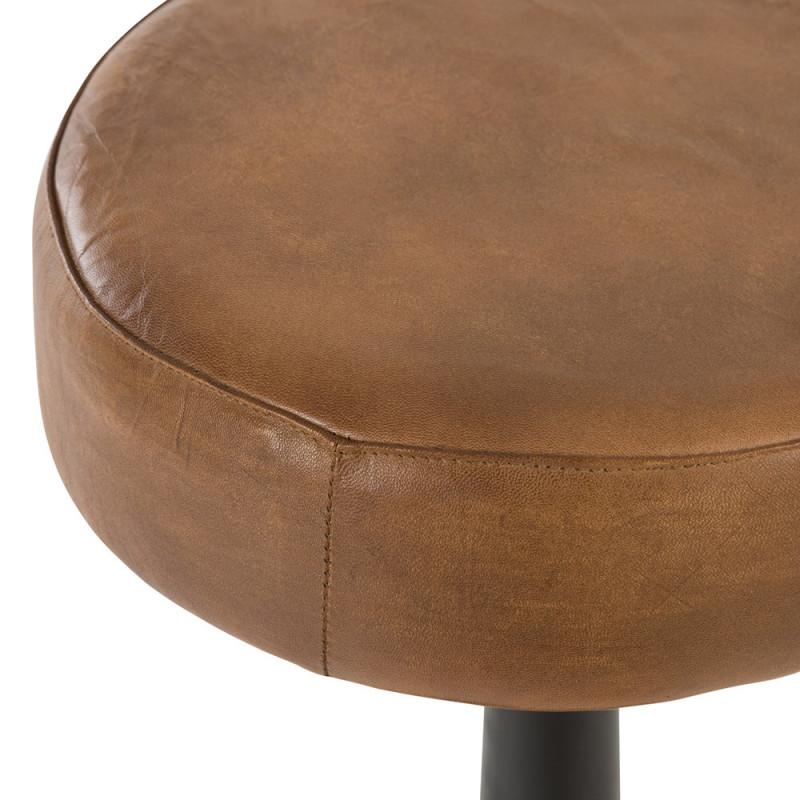 Tabouret de bar industriel en cuir marron sans dossier  - Stir