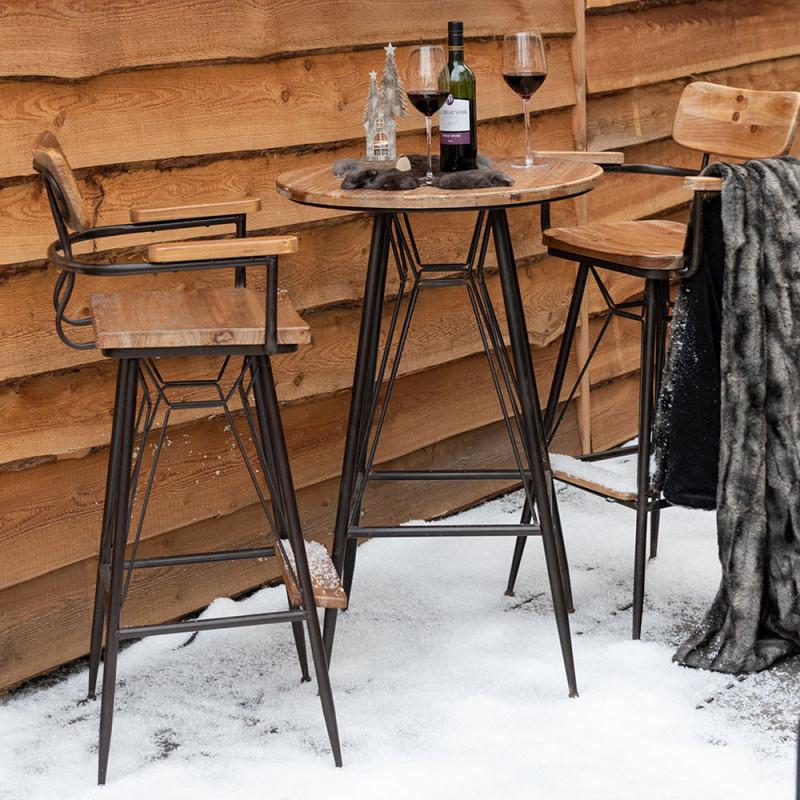 Tabouret de bar industriel en métal et bois avec dossier et accoudoirs - Bisto