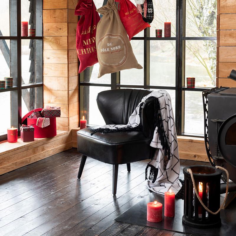 Fauteuil club cuir noir vintage - Clays