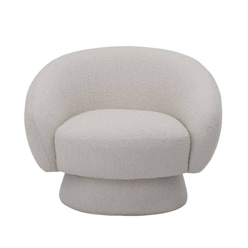 Fauteuil rond design en tissu boucle blanc - Pereiro