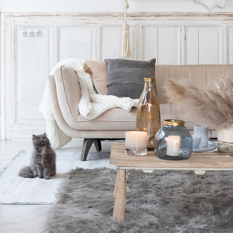 Canapé velours beige 3 places - Stelo