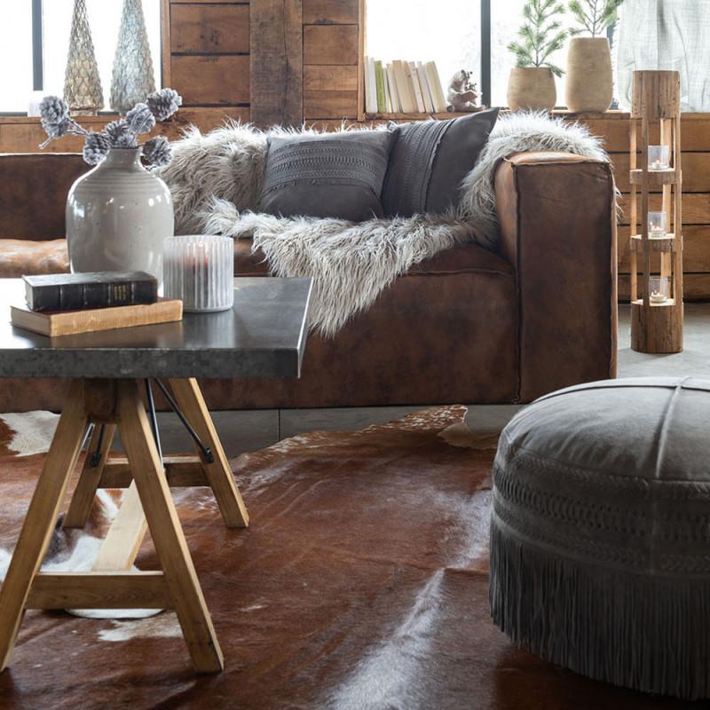 Canapé droit en cuir marron vieilli - Bicy