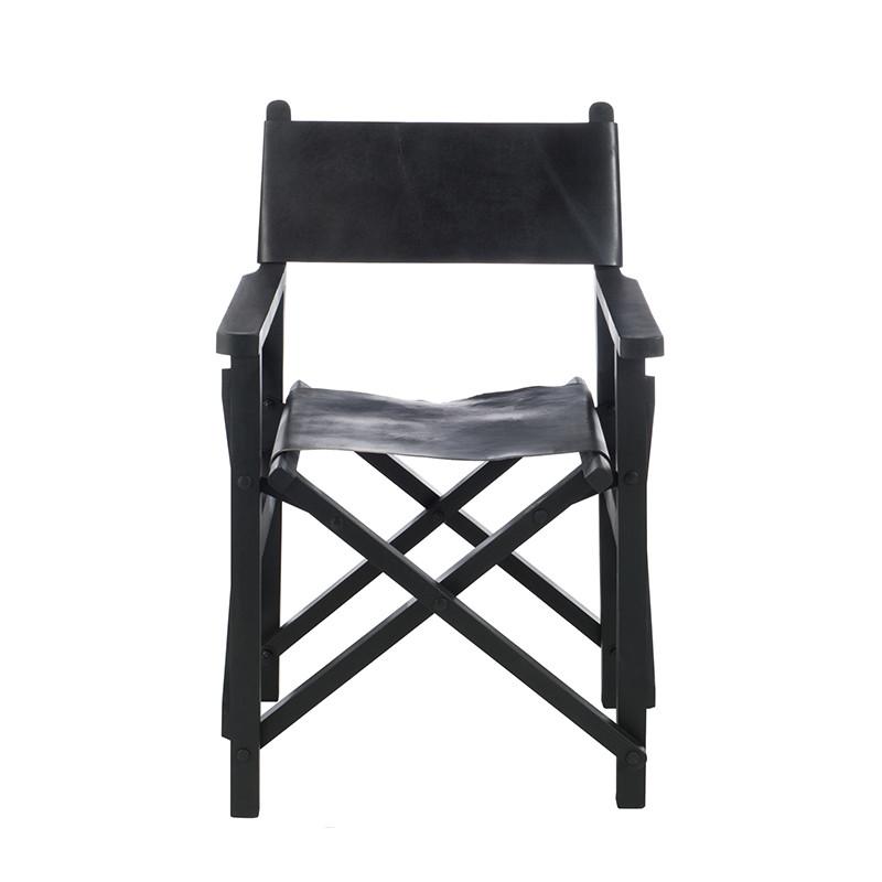 Chaise pliante régisseur design cuir noir - Regi