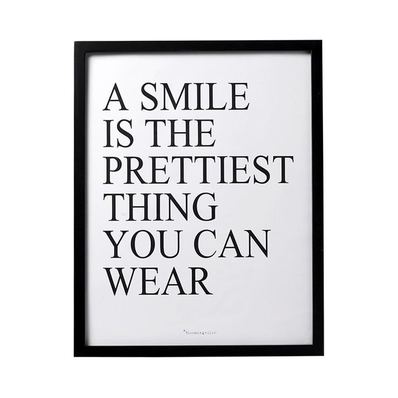 Cadre déco noir avec message Bloomingville - Smile