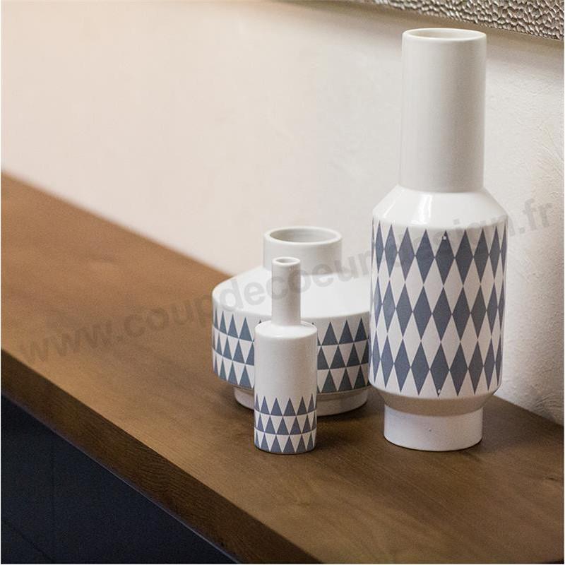 Grand vase design bleu et blanc à motif géométrique Bloomingville - Cera
