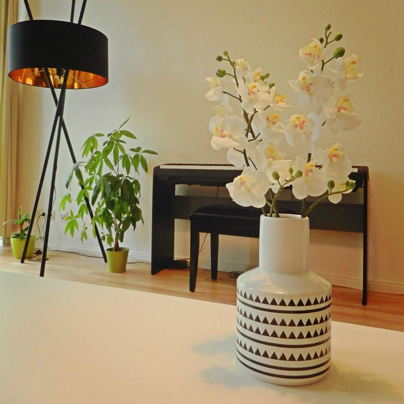 Vase motif géométrique blanc et noir Bloomingville - Cera