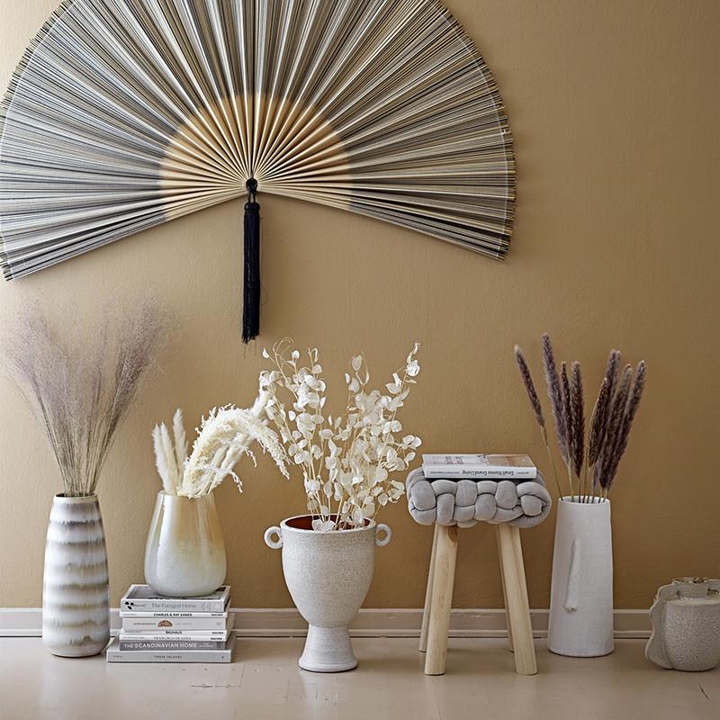 Grand vase déco visage blanc en terre cuite Bloomingville - Terra