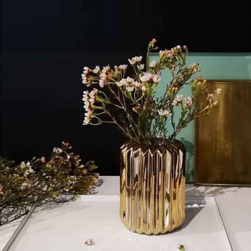 Vase géométrique doré design Bloomingville - Erode