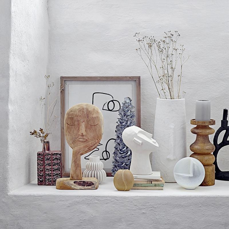 Sculpture visage abstrait en bois Bloomingville - Arty