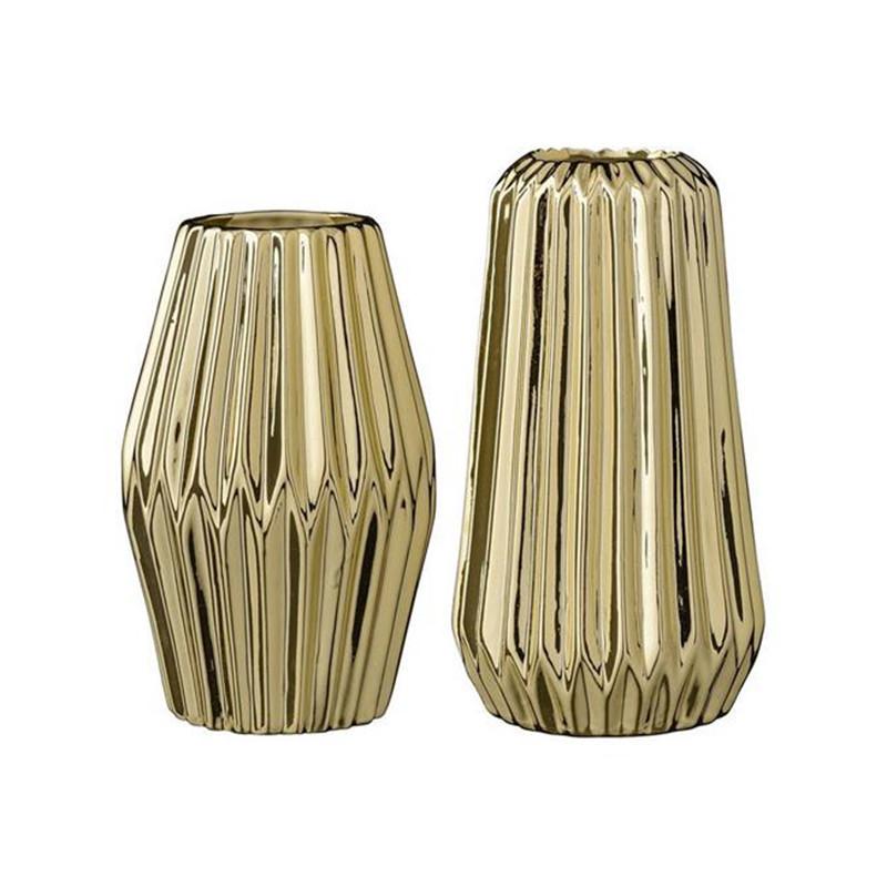 Vases géométriques design dorés Bloomingville - Erode