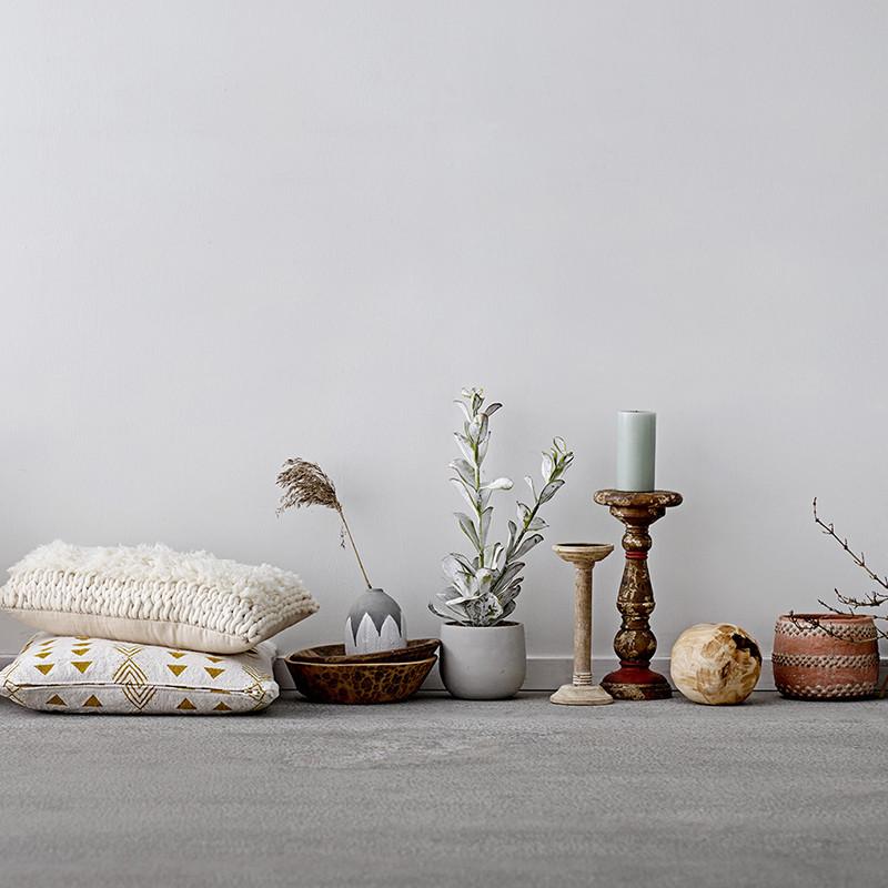 Décoration plante artificielle et pot de fleur gris - Fliz
