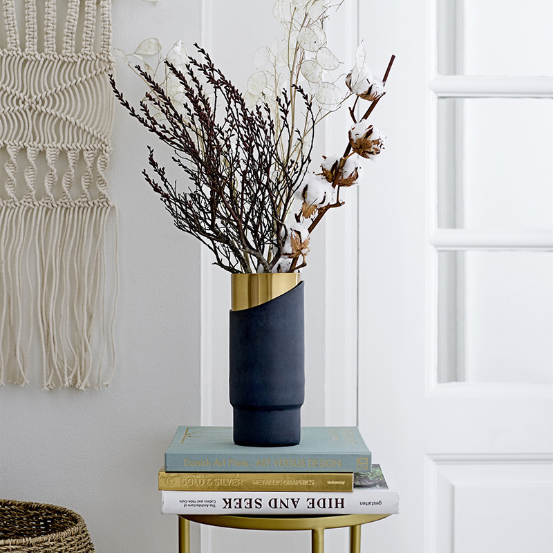 Vase bleu doré design Bloomingville en aluminium - Gold