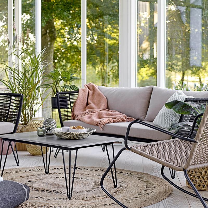 Canapé de jardin design noir et beige Bloomingville