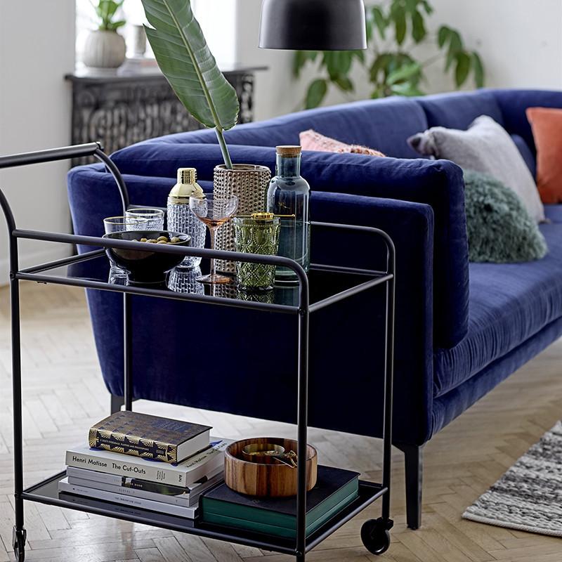 Grand canapé velours bleu roi Bloomingville