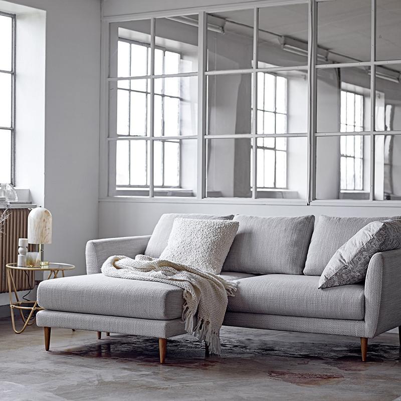 Canapé d'angle gris avec méridienne modulable Bloomingville - Sweet