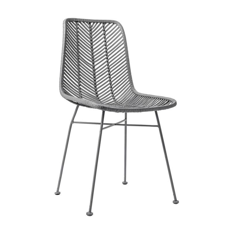 Chaise design grise en rotin tressé Bloomingville