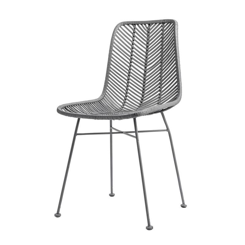 Chaise design grise en rotin tressé Bloomingville - Lena