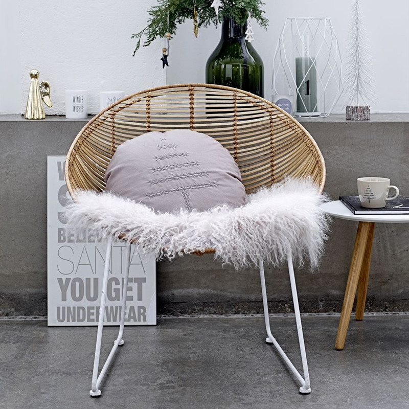 Chaise rotin design pied métal blanc Bloomingville - Lena