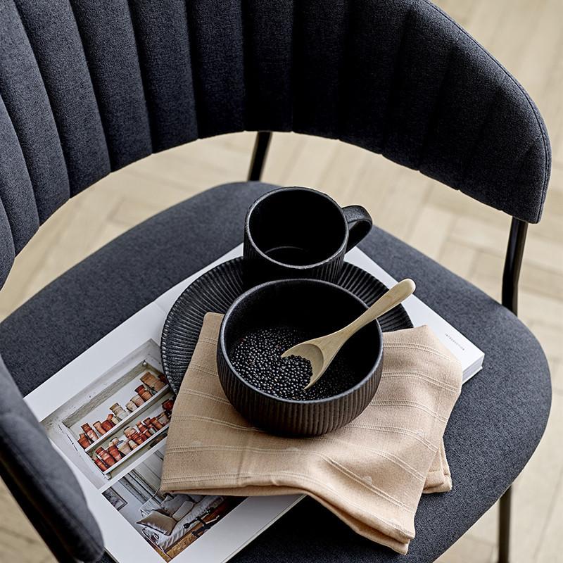 Chaise salle à manger grise design vintage avec accoudoirs