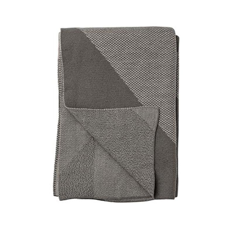 Plaid en laine gris design Bloomingville