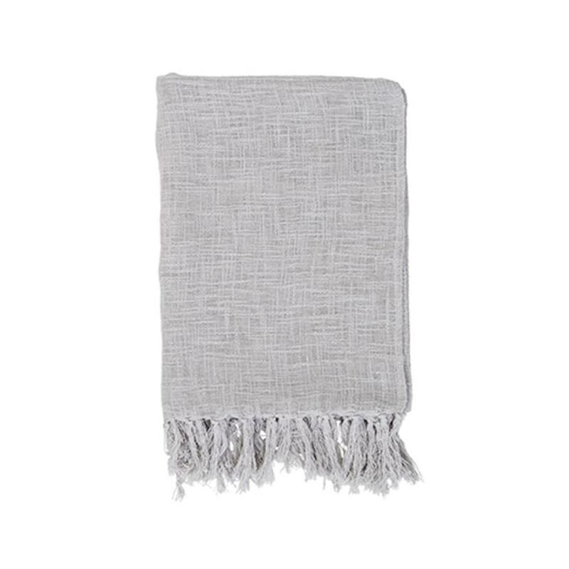 Plaid gris léger à franges en coton Bloomingville - Ethnique