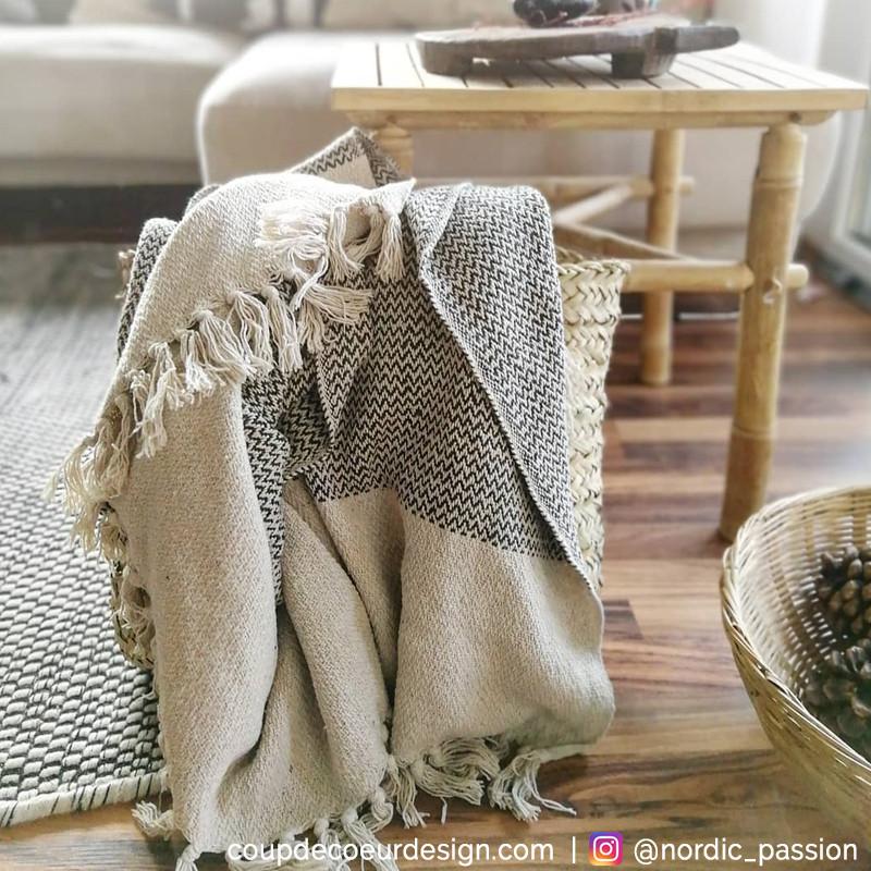 Plaid ethnique à franges en coton gris Bloomingville - Ethni