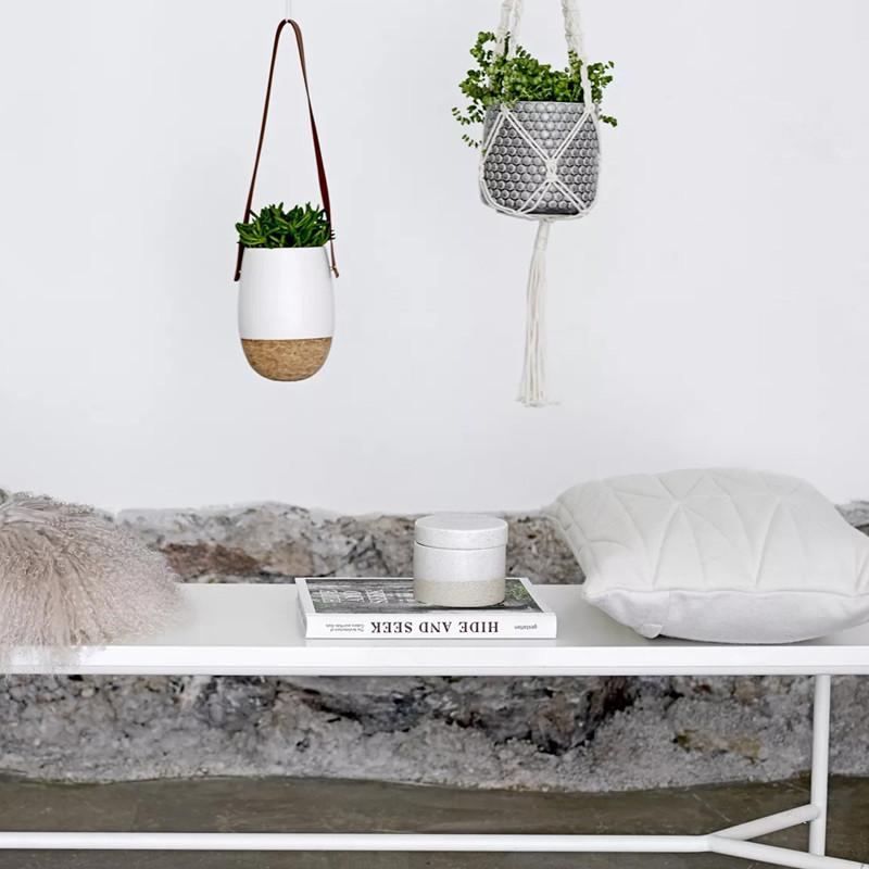 Coussin blanc matelassé design Bloomingville 60x40 - Cotton