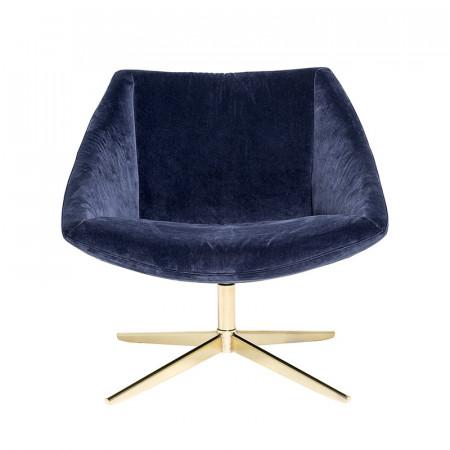 Fauteuil velours bleu pivotant pied doré Bloomingville style art déco