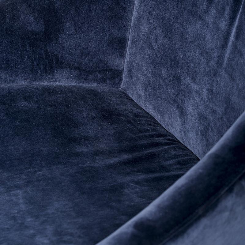 Fauteuil velours bleu pivotant pied doré Bloomingville - Sool