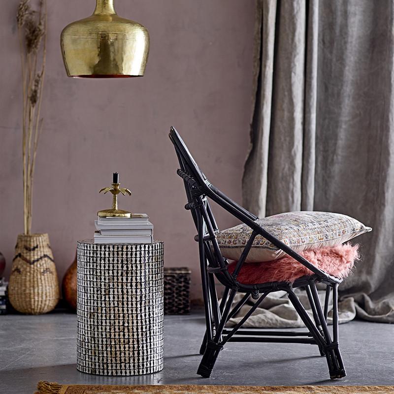 Fauteuil lounge en rotin noir design Bloomingville