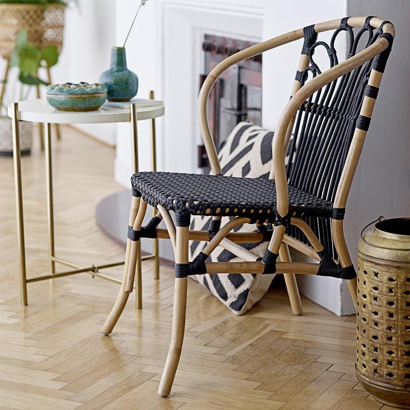 Chaise en rotin naturel et noir design - Lona