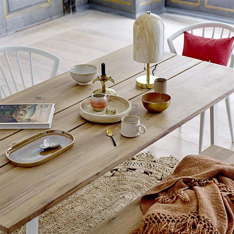Table bois naturel et métal blanc design