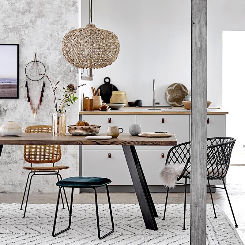 Table tronc d'arbre bois et métal noir design