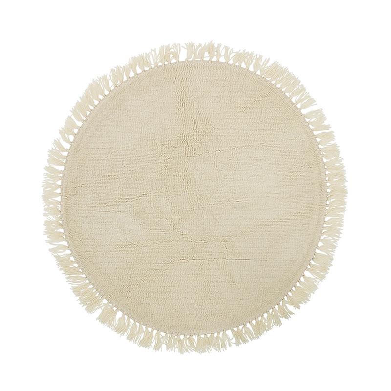 Tapis blanc à franges rond Bloomingville D110cm - Maëlie